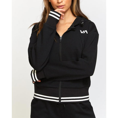 RVCA, T601VRTJ-BLK, Black, Titan Hoodie, Sport Colloection, Womens zip up hoodies, Front View, Fall 2019