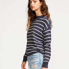 RVCA, WV02VRTR-INK, Ink color, Tristan Striped Sweater, Womens Sweaters, Blue, Side View, Fall 2019