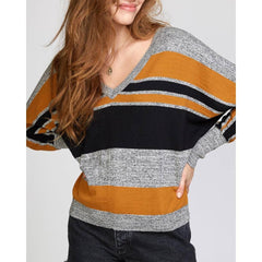 RVCA, WV03VRCA-CSP, Cathay Spice, Carter Striped Sweater, Womens Sweaters, Mustard, Black, Grey, Fall 2019,