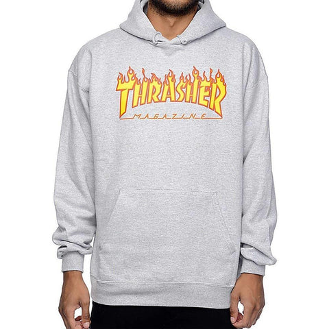 Thrasher, THR-311194, Grey, Flame Logo Hood, Mens Pullover Hoodies, Fall 2019