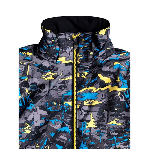 EQKTJ03010-GJC1, Sulpher Pop Yeti Forest, Little Mission Snow Jacket, Boys Outerwear, Blue, Yellow, Quiksilver, Close Up