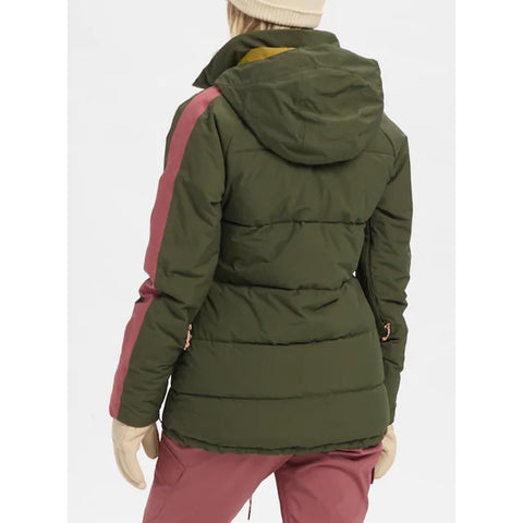 21435100300, WOMENS KEELAN JACKET, BURTON, WOMENS JACKETS, GREEN, ROSE, FOREST NIGHT / ROSE BROWN, WINTER 2020, BACK VIEW