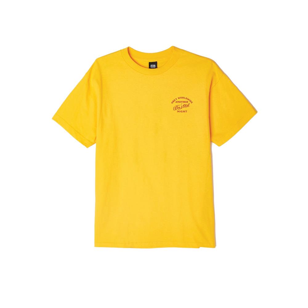 163082063.GLD, GOLD, YELLOW, OBEY, WASTED NIGHTS BASIC TEE, MENS T-SHIRTS, FALL 2019
