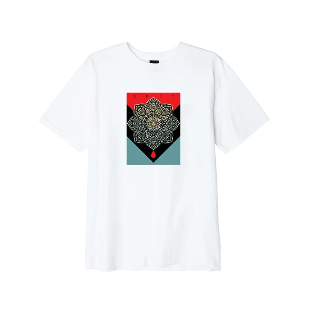 163082093.WHT, WHITE, OBEY, BLOOD AND OIL MANDALA BASIC TEE, MENS T-SHIRTS, FRONT VIEW, FALL 2019