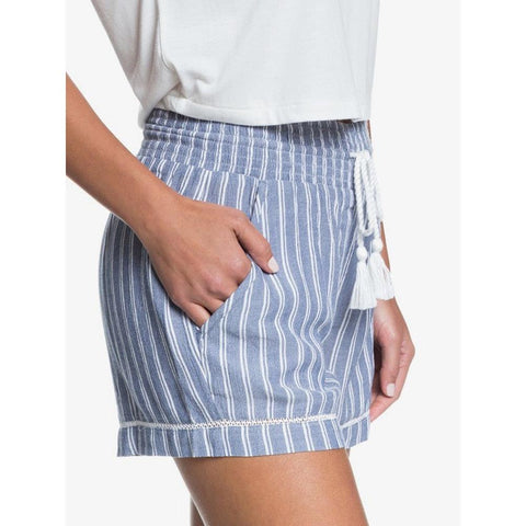 ERJNS03247-BPZ3, TRUE NAVY BIRDY STRIPES, ROXY, BOLD BLOOMS BEACH SHORTS, WOMENS SHORTS, SPRING 2020 FABRIC SHORTS