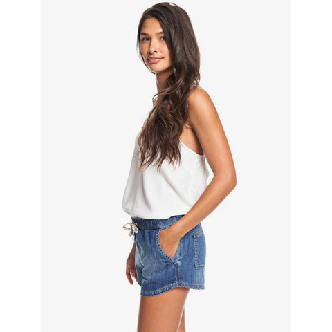 ERJDS03213-BMTW, MEDIUM BLUE, DENIM, ROXY, GO TO THE BEACH ELASTICIZED DENIM SHORTS, WOMENS SHORTS, SPRING 2020