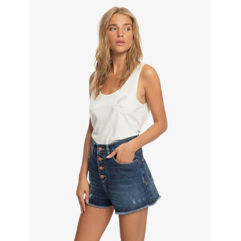 ERJDS03223-BYK0, DARK INDIGO, DENIM, ROXY, LAGOS CLIFF HIGH WAIST DENIM SHORTS, WOMENS SHORTS, JEAN SHORTS, SPRING 2020