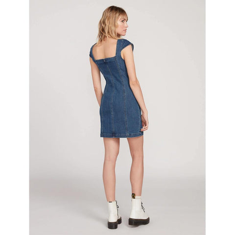 B1341905-IRW, Indigo Ridge Wash, Demin, Blue, Volcom, Im Not Sweet Dress, Womens Dresses, Spring 2020, back view