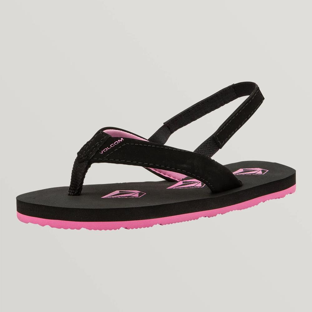 TT0812000-BKO, BLACK OUT, BLACK, PINK, VOLCOM, VICKY LITTLE YOUTH SANDALS, SPRING 2020, LITTLE GIRLS FLIP FLIPS