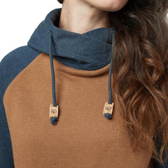 tcw1519-0461 Ten Tree Womens Burney Hoodie rubber brown heather close up view