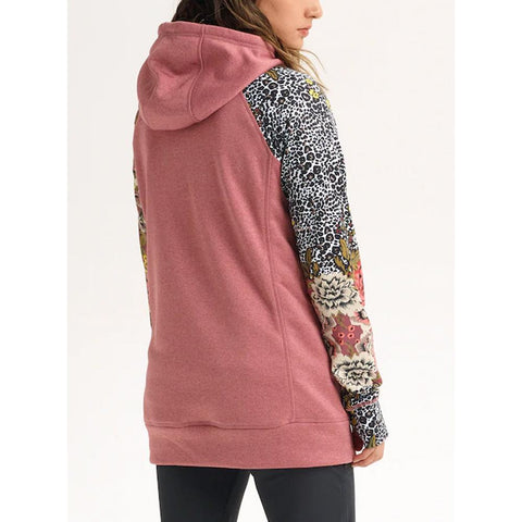 20840101200-Rose Brown Heather/ Cheetah Floral, Pink, Burton, Oak Long Pullover Hoodie, Womens Pullover Hoodies, Fall 2019, Back View