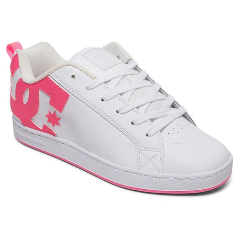 300678-XWWM, WHITE, PINK, DC, COURT GRAFFIK, WOMENS SKATE SHOES, SPRING 2020