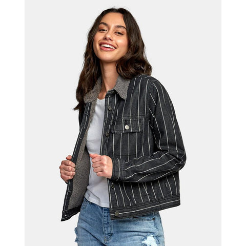 W702WRSI-BKS, BLACK STRIPE, SPITTING IMAGE DENIM JACKET, RVCA, WOMENS JACKETS, HOLIDAY 2019