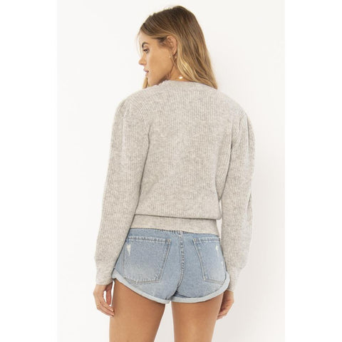a803mflo-grh Amuse Society Florence Sweater grey heather back