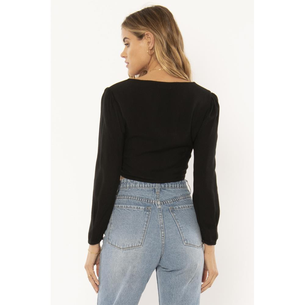 A508NTES-BLK, BLACK, AMUSE SOCIETY, TESORO WOVEN LONG SLEEVE TOP, WOMENS FASHION TOPS, HOLIDAY 2019