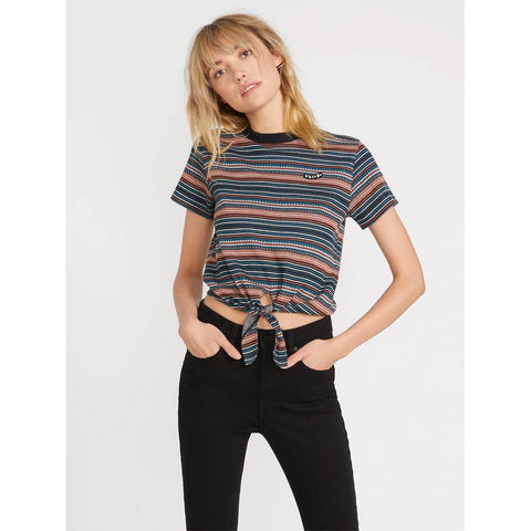 B0141905, So Far Out Shirt, Volcom, Womens Short Sleeve Tees, Stripe, Holiday 2019