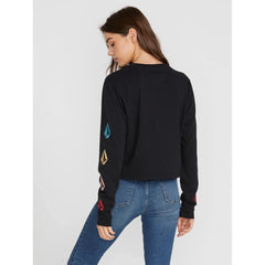 B3641902-Black, The Volcom Stone LS,Womens Long Sleeve Shirts, Back View, Holiday 2019