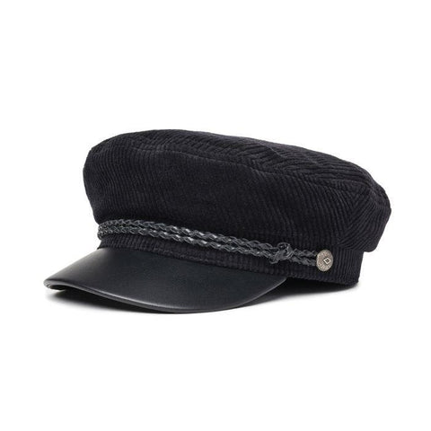 00004-bkbkl Brixton Fiddler Cap black/black leather overall view