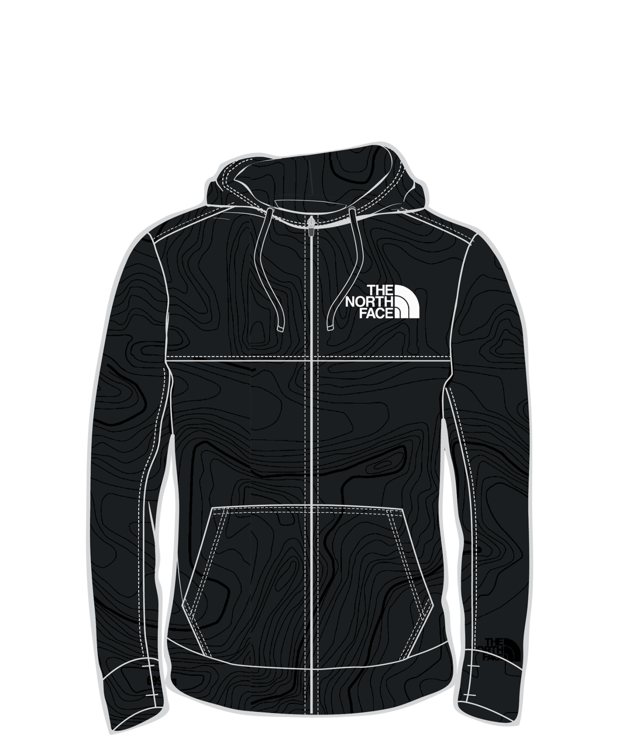 NF0A34YV-UF4 The North Face Surgent Bloc Full Zip Hoodie 2.0 mens jacket front view black topo print