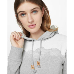 tcw1759-0346 Ten Tree Mountain Juniper Hood womens hoodie hi rise grey heather close up view