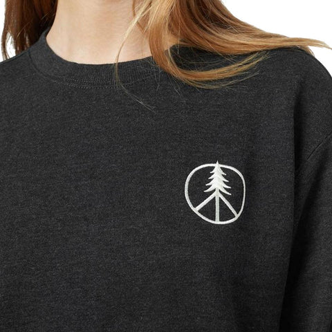 tcw1730-0451 Ten Tree Peace Tree Long Sleeve Shirts womens shirt meteorite black heather close up view