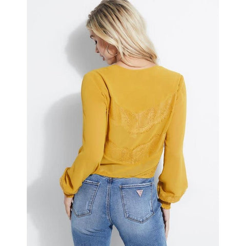 W93H52R1V34-G2D4, TIGER EYE, YELLOW, NILDA LACE TIE TOP, GUESS, WOMENS LONG SLEEVE TOPS, WOMENS FASHION TOPS, HOLIDAY 2019, BACK VIEW