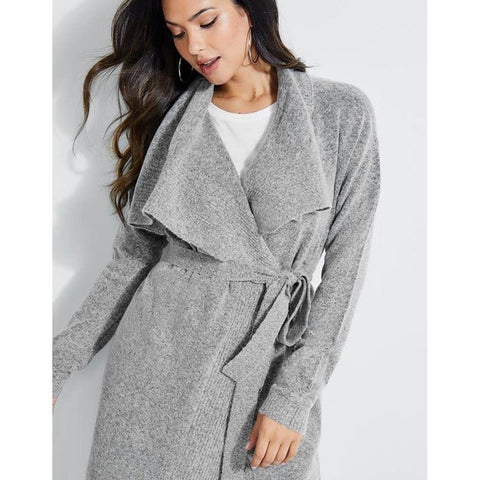 W93R25R2H70-CLGM, CLOUDY GREY, GUESS, LS BECKETT DRAPE CARDIGAN, WOMENS SWEATERS, HOLIDAY 2019