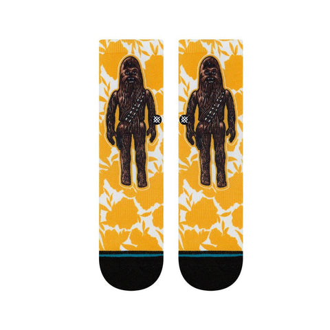 K558D19FLC.YEL, YELLOW, STANCE, STAR WARS FLORAL CHEWIE KIDS CREW SOCKS,