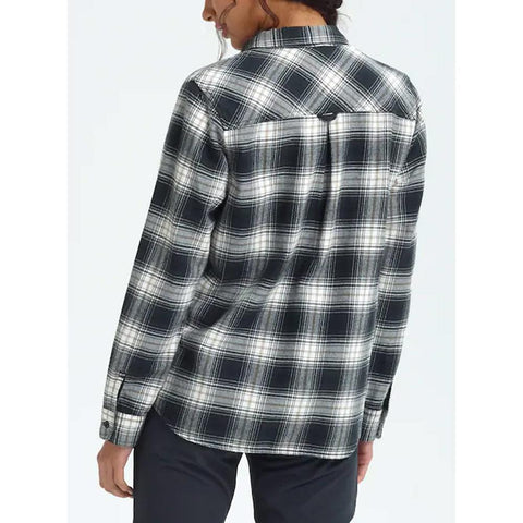 14057109001-True Black Elias, Black and white plaid, Burton, Grace Long Sleeve Flannel, Womens Long Sleeve Shirt, Fall 2019, back view