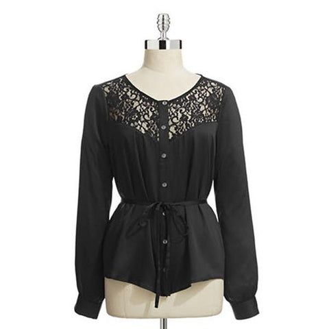 Guess LS Lace Yoke Womens Button Up Tops