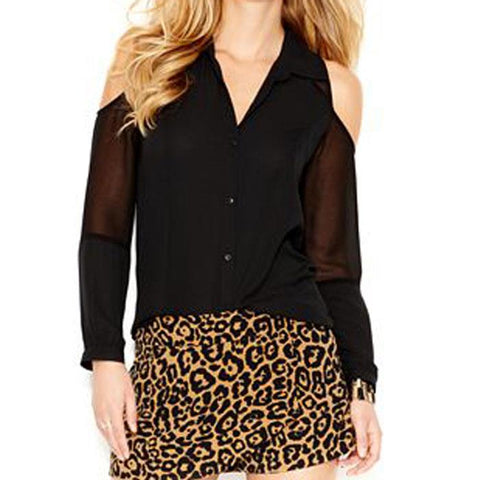 Guess LS Cold Shoulder Womens Button Up Blouses