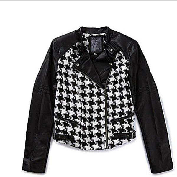Guess LS Houndstooth Moto Womens Casual Jackets