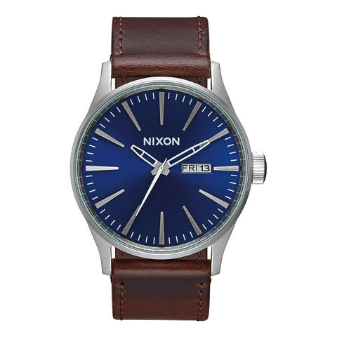 A105-1524-00 BLUE/ BROWN, NIXON, SENTRY LEATHER BAND WATCH, MENS WATCHES, WINTER 2019