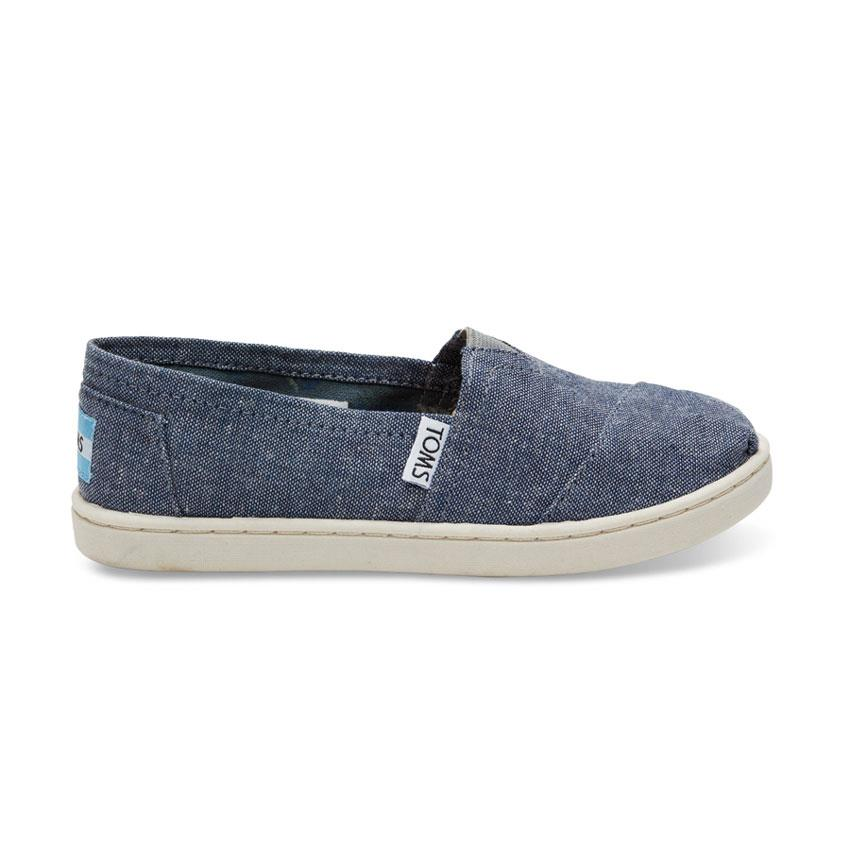 TOMS CLASSIC CHAMBRAY GIRLS IN SHOES YOUTH GIRLS SLIP ON SHOES - KIDS SLIP ON SHOES - KIDS SHOES