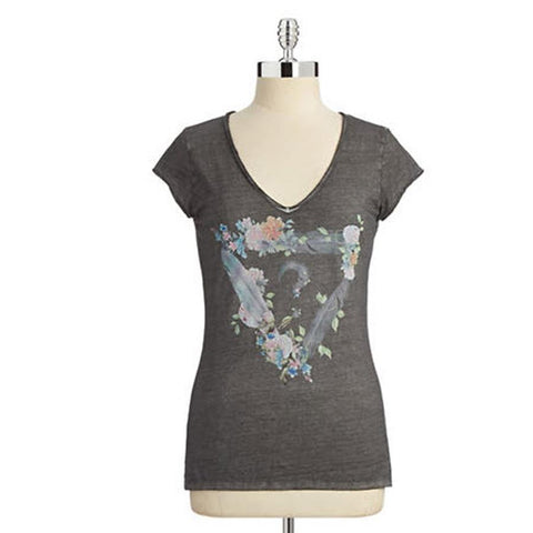Guess Cap Sleeve Dreamy V Neck Womens Tees