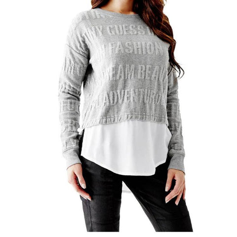 Guess Jacquard 2Fer Womens LS Tops