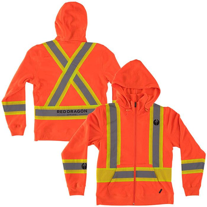 RDS HIGH VIS ZIP IN MENS CLOTHING HOODIES - MENS FULL ZIP HOODIES - MENS SWEATSHIRTS
