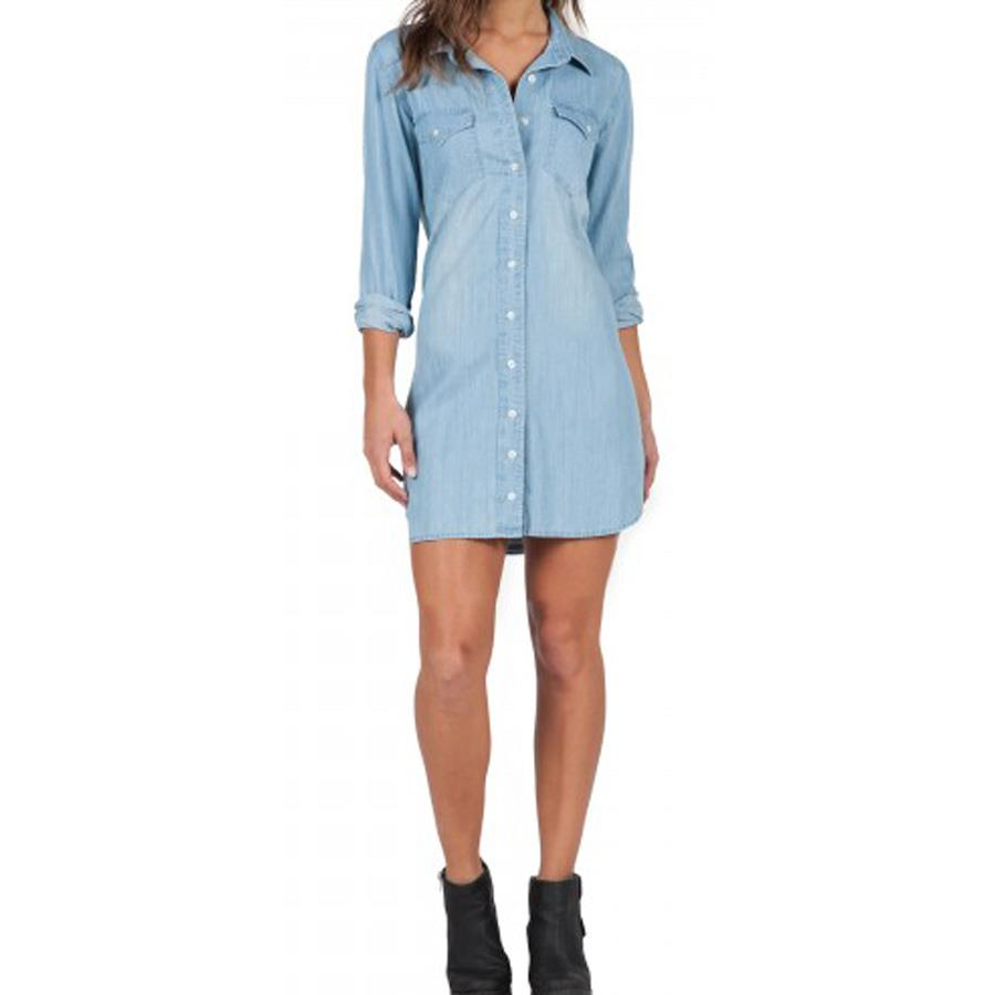 VOLCOM BLUE BELLS DRESS IN WOMENS CLOTHING DRESSES - CASUAL DRESSES - DRESSES