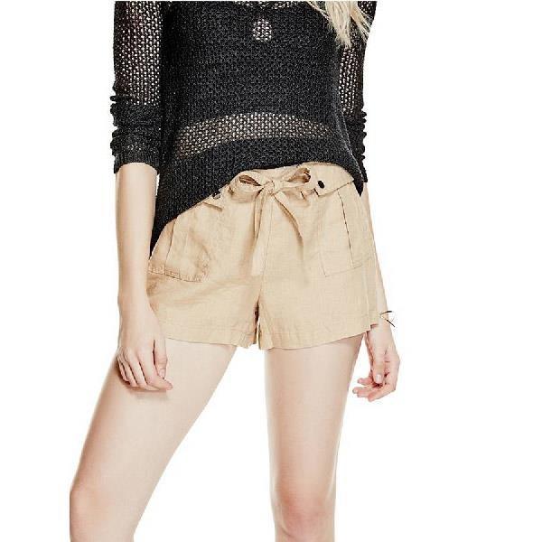 GUESS GABI LINEN CARGO SHORTS IN WOMENS CLOTHING FABRIC SHORTS - WOMENS FABRIC SHORTS - SHORTS