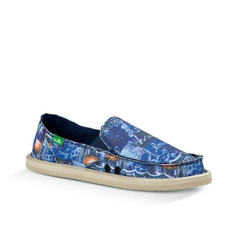 Sanuk Donna Blue Womens Slip On Shoes