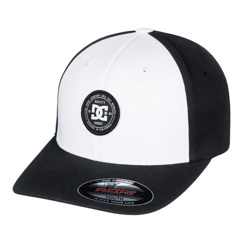 dc curve breaker flexfit hat boys front view youth hats black