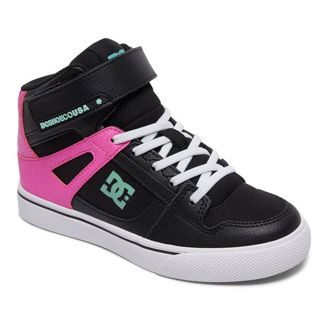 dc pure ev high top shoes girl side view kids high tops black/pink