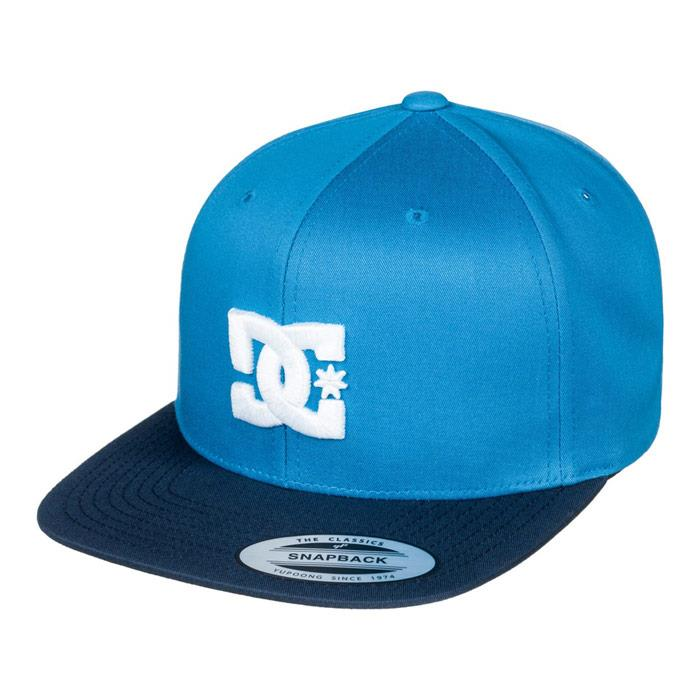 dc snappy snapback hat mens front view mens hats blue