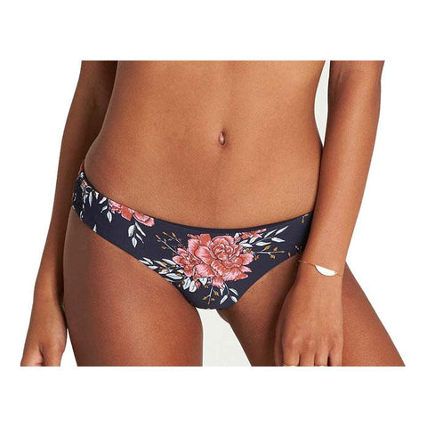 billabong lets wander lowrider bikini front view bikini bottoms navy/red