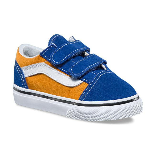 vans old skool v pop toddler side view toddler shoes blue/gold