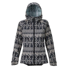 buton day lite gore-tex rain jacket front view womens windbreakers black print 17804101960