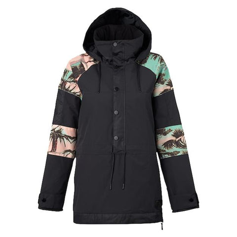 burton cinder anorak jacket womens front view womens shell jackets black/pink/cyan 15003101994