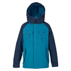 burton boys fray jacket front view youth snowboard jackets blue/navy 11537100400