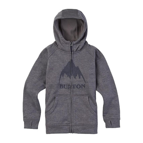 burton boys oak full zip hoodie front view boys hoodies dark grey 16234104020