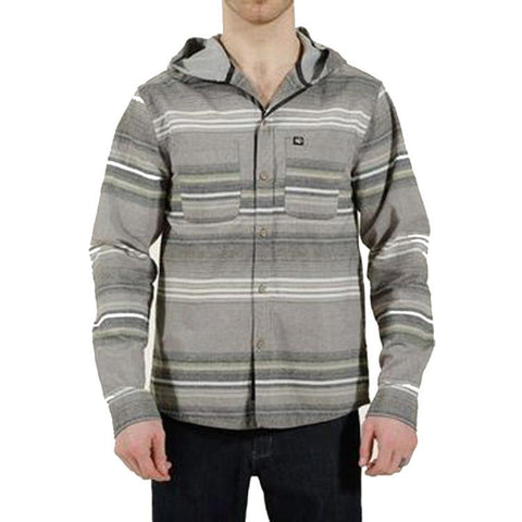 ten tree okapi stripe hooded long sleeve front view Mens Button Up Long Sleeve Shirts grey mwoka-gry